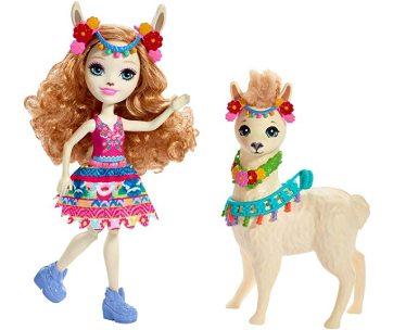 une poupée enchantimals et un lama