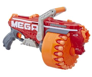 un pistolet nerf rouge et orange