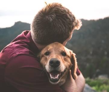 un homme qui fait un câlin à son chien dans la forêt