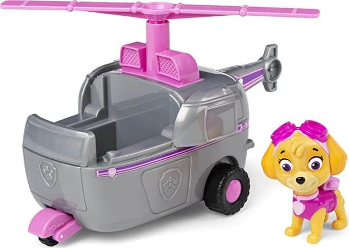 Figurine skye et son hélicoptère rose